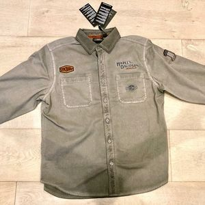 Harley Davidson Men's Long Sleeve Grey Shirt NWT